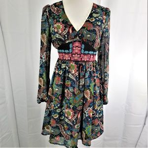 Flying Tomato Paisly Floral Boho Dress Embroidered